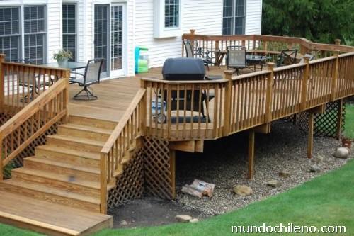 Fotos de construcci n de casas caba as y tinas de madera for Terrazas de madera para casas